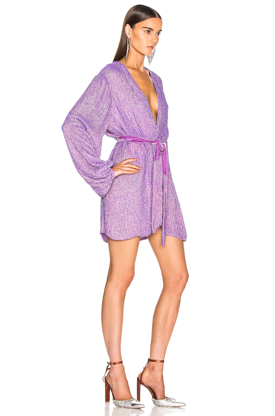 Image 2 of retrofete Gabrielle Robe Dress in Metallic Lavender