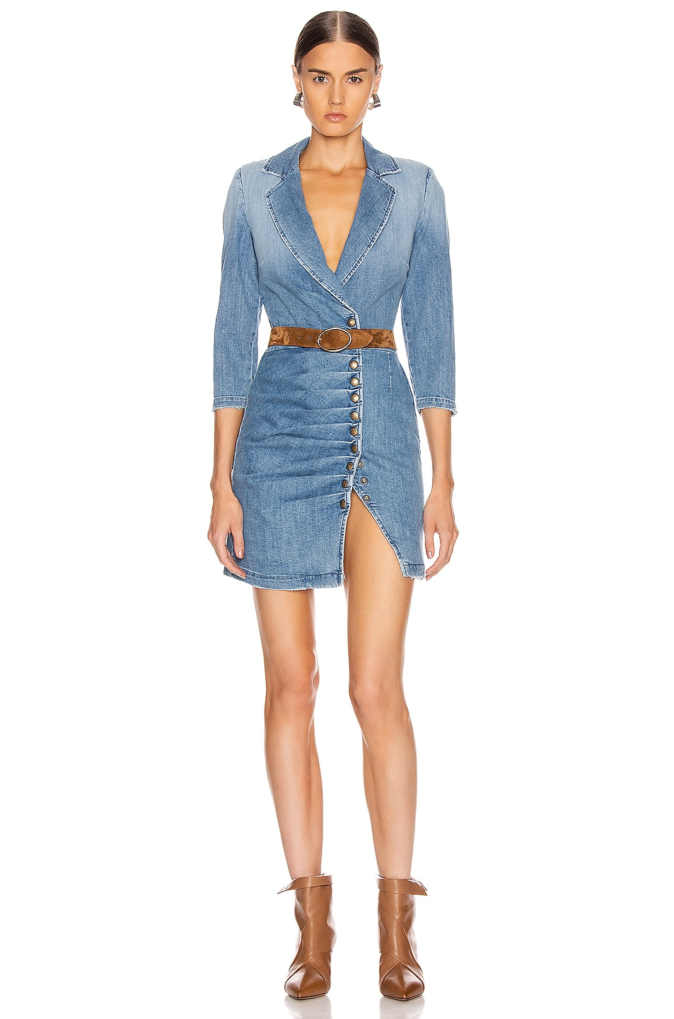 Image 1 of retrofete Willa Dress in Light Wash Denim