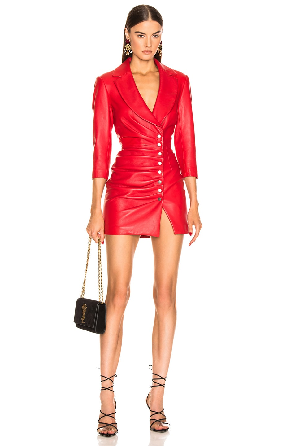Image 1 of retrofete Willa Leather Dress in Red