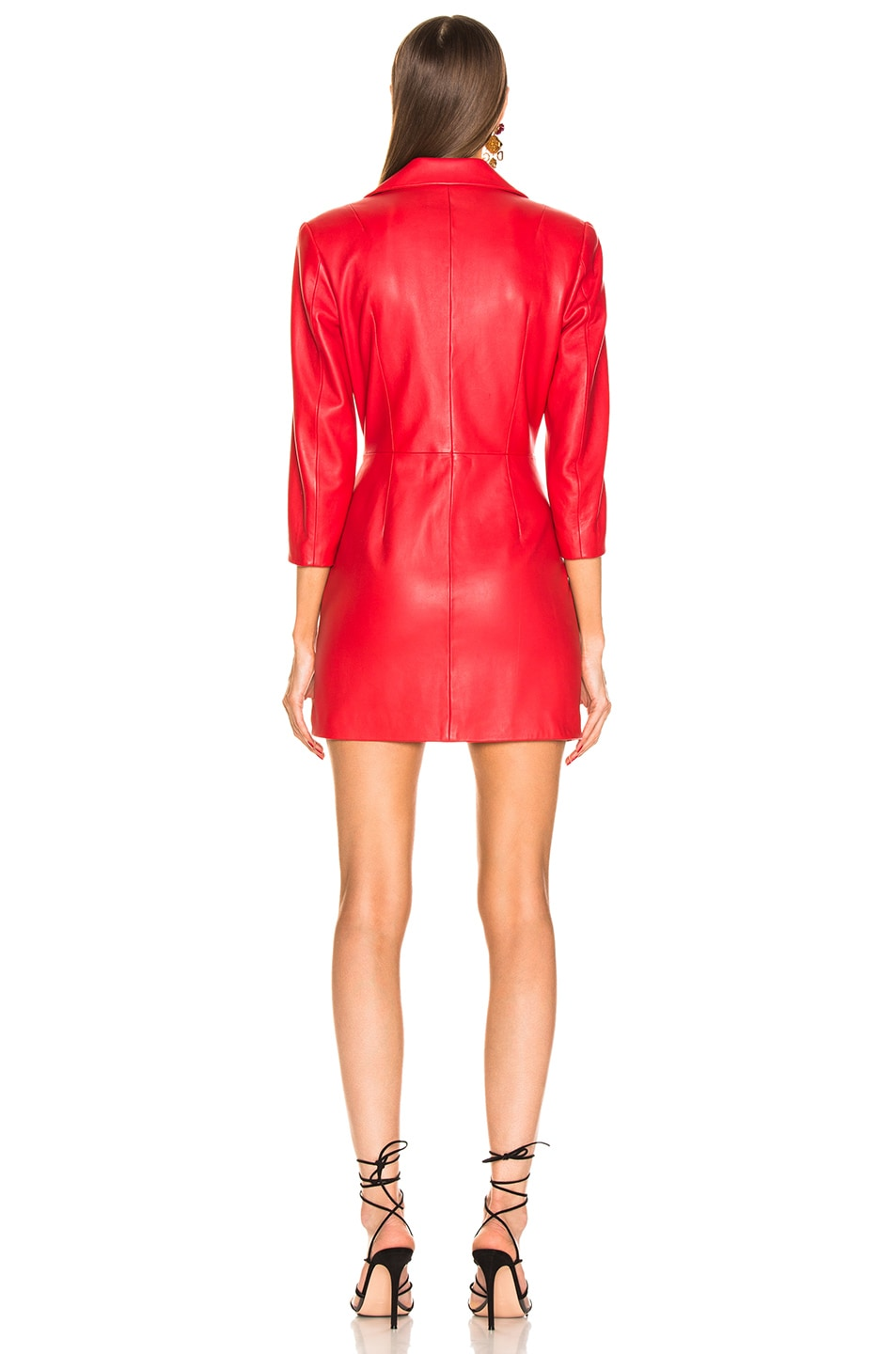Image 3 of retrofete Willa Leather Dress in Red