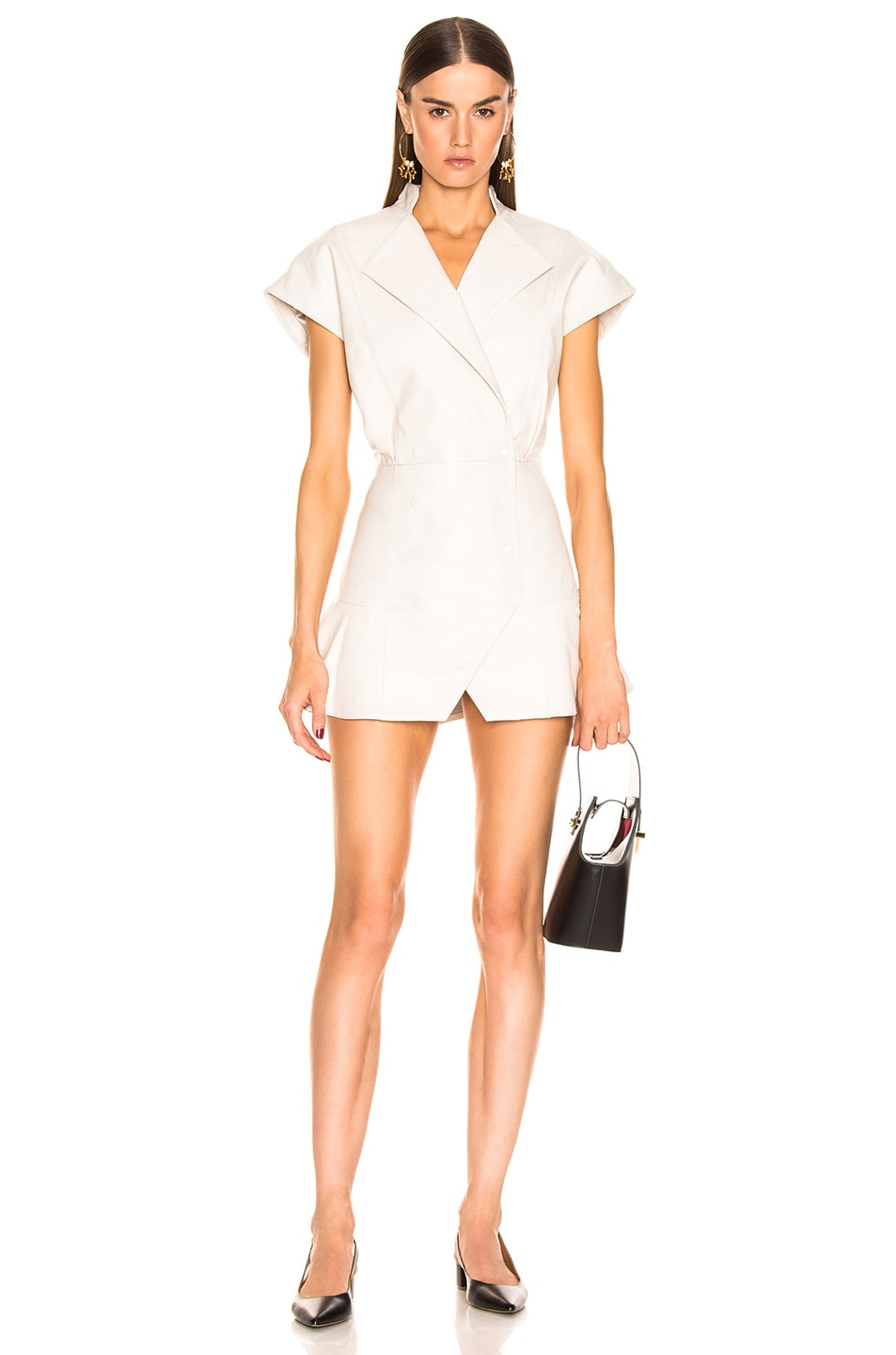 Image 1 of retrofete Lina Leather Dress in White
