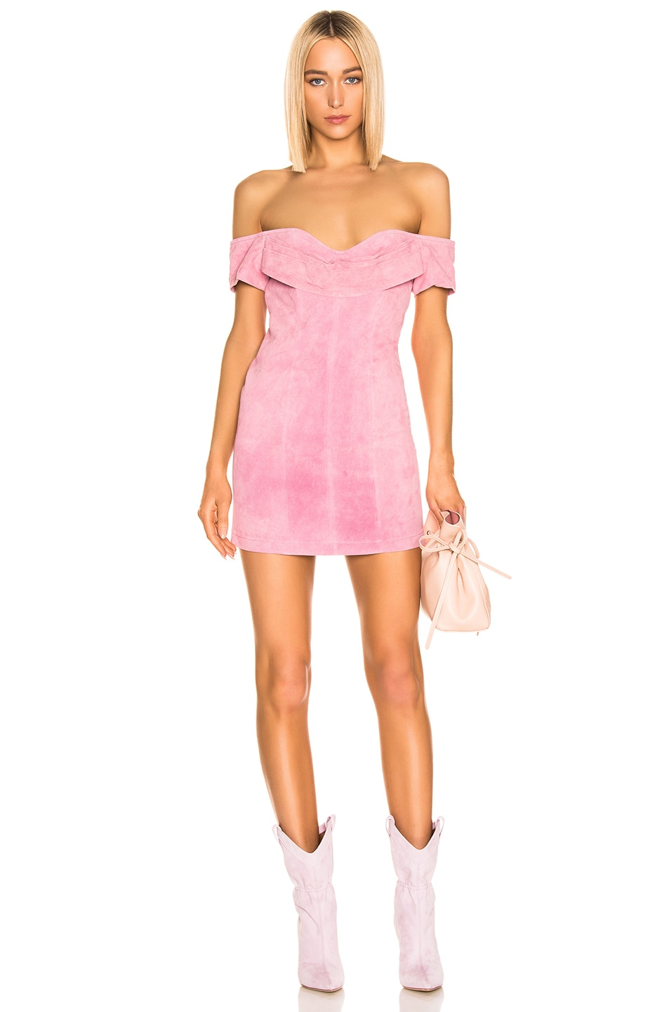Image 1 of retrofete Hadley Suede Dress in Rose Pink