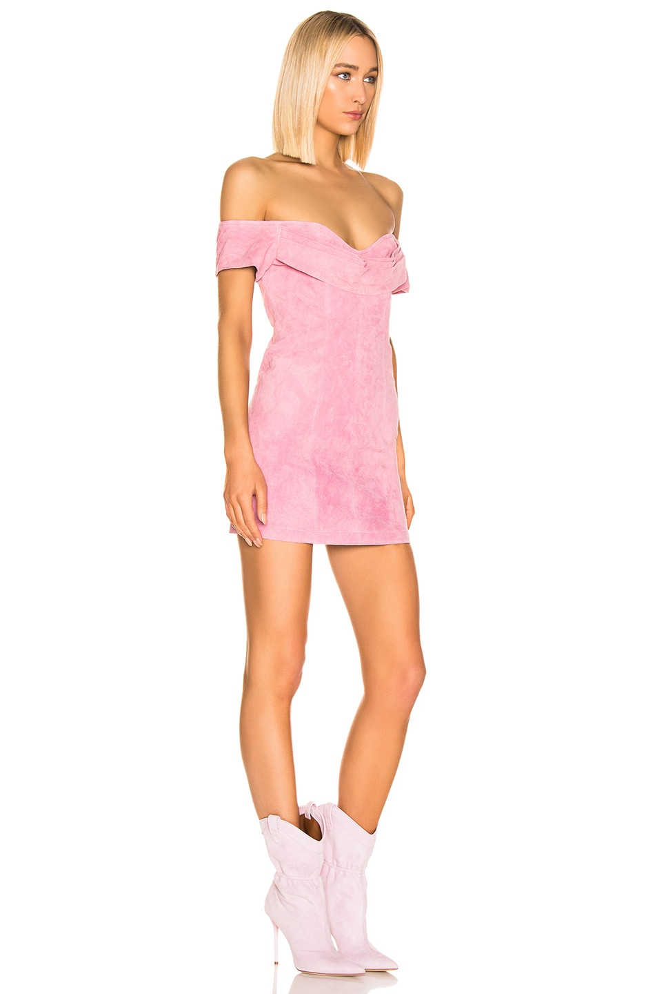 Image 2 of retrofete Hadley Suede Dress in Rose Pink