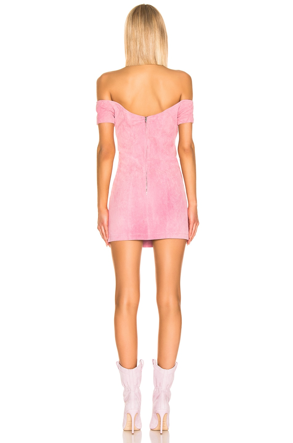 Image 3 of retrofete Hadley Suede Dress in Rose Pink