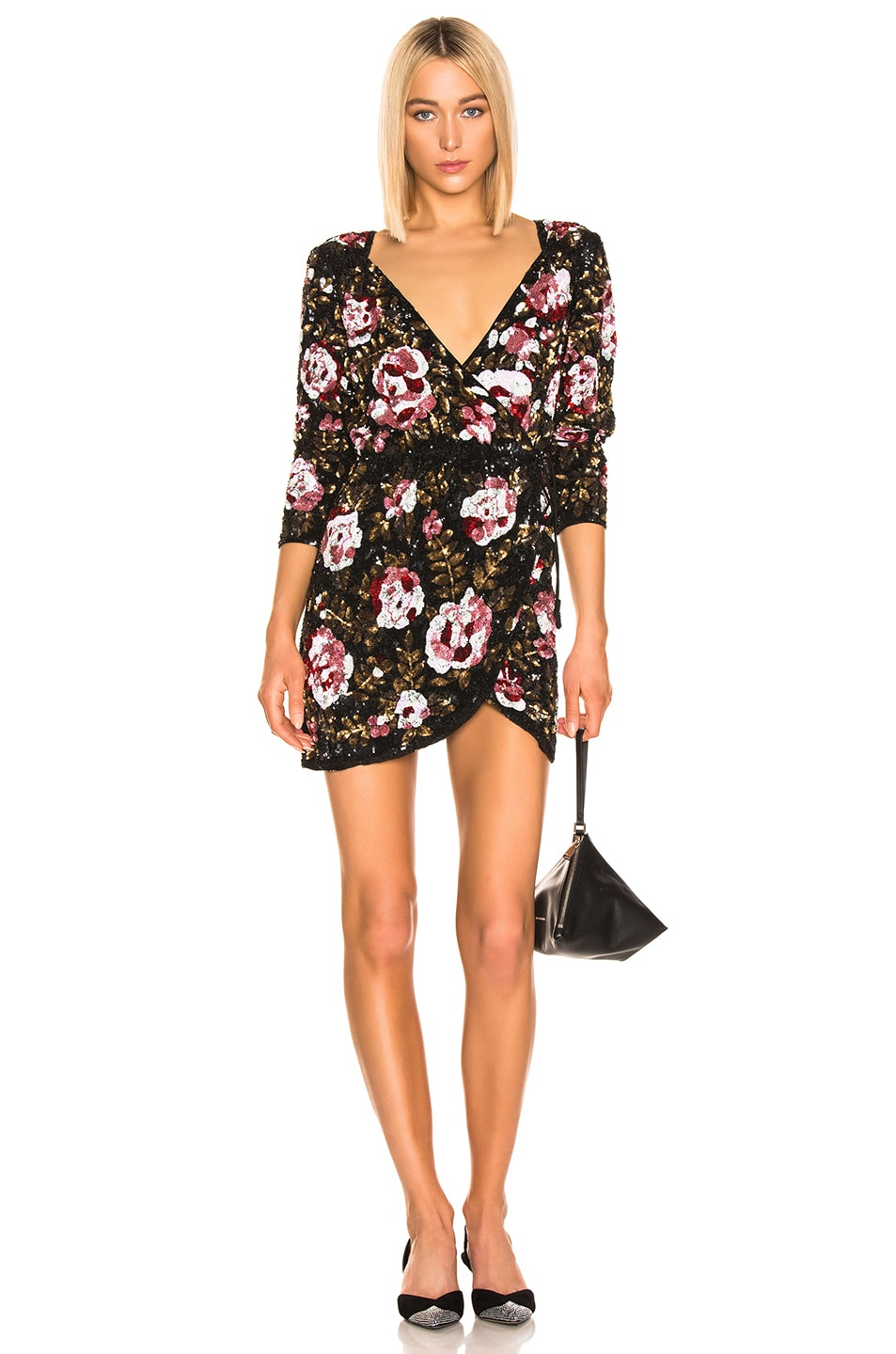 Image 1 of retrofete for FWRD Pearl Dress in Black Floral
