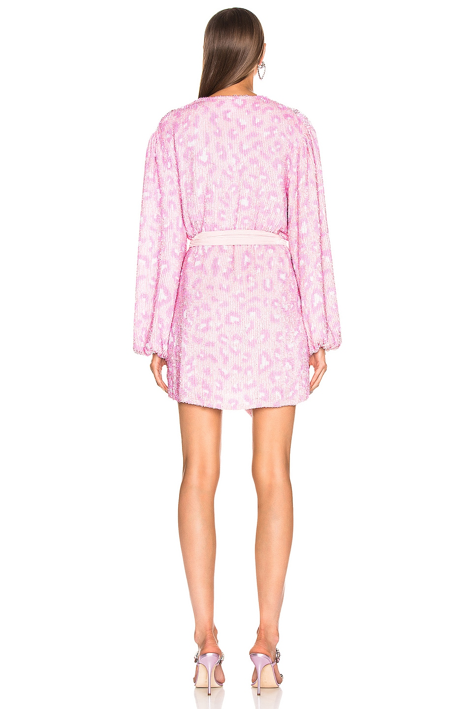 Image 3 of retrofete for FWRD Gabrielle Robe Dress in Baby Pink Leopard