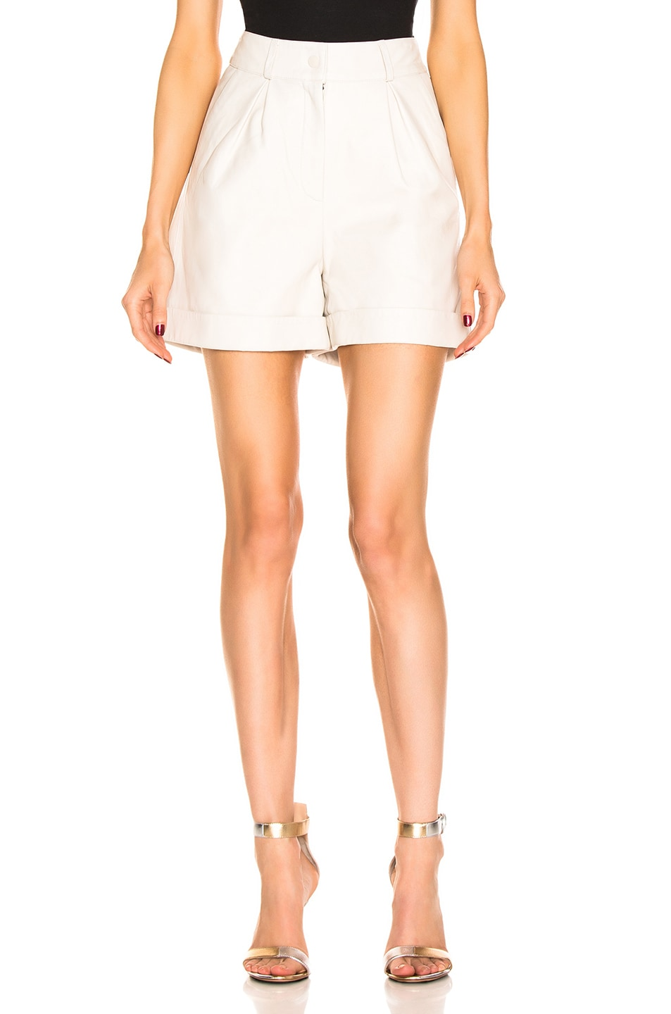 Image 1 of retrofete Mila Leather Short in White