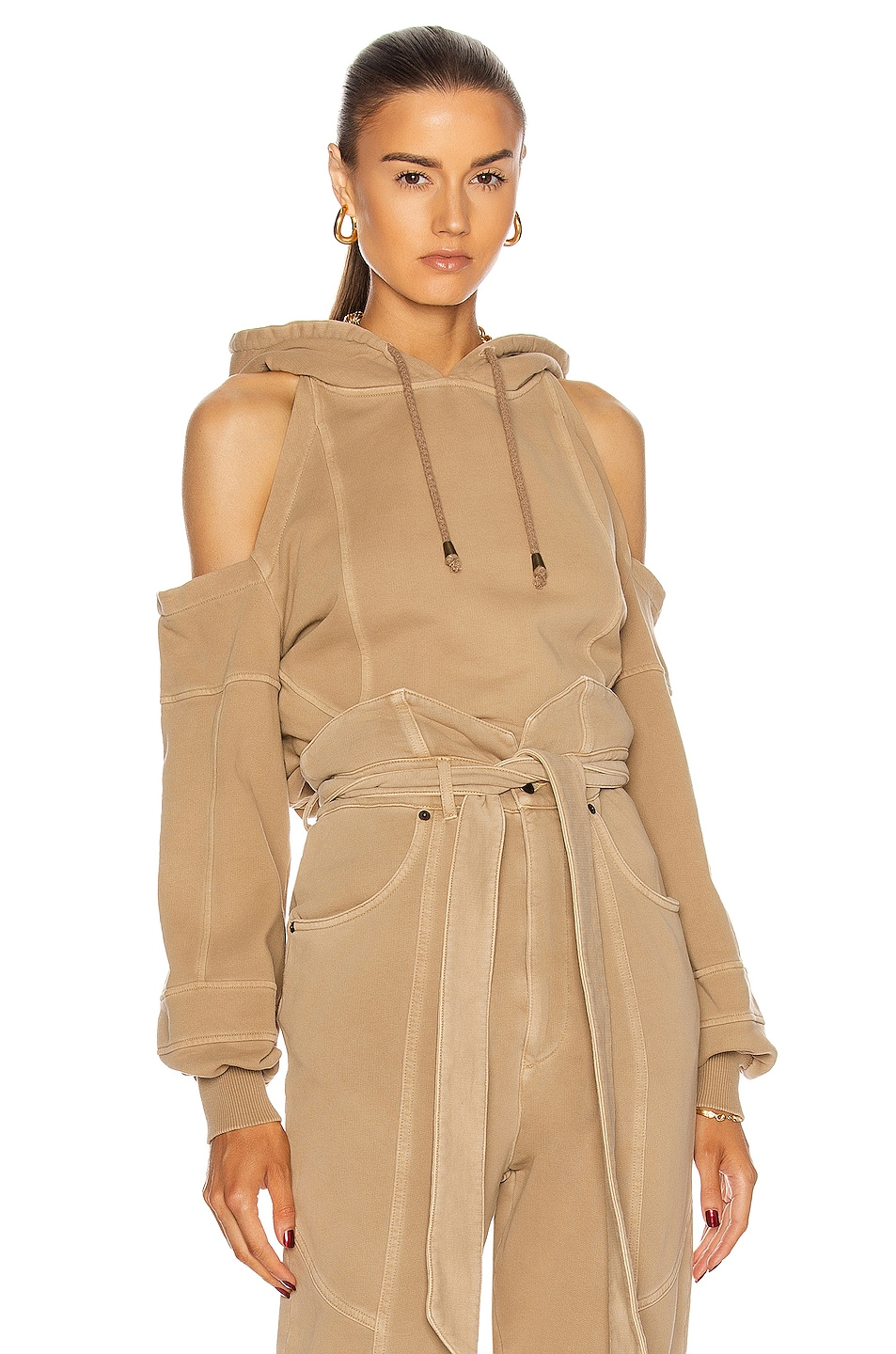 Image 1 of retrofete Washed Terry Hoodie in Beige
