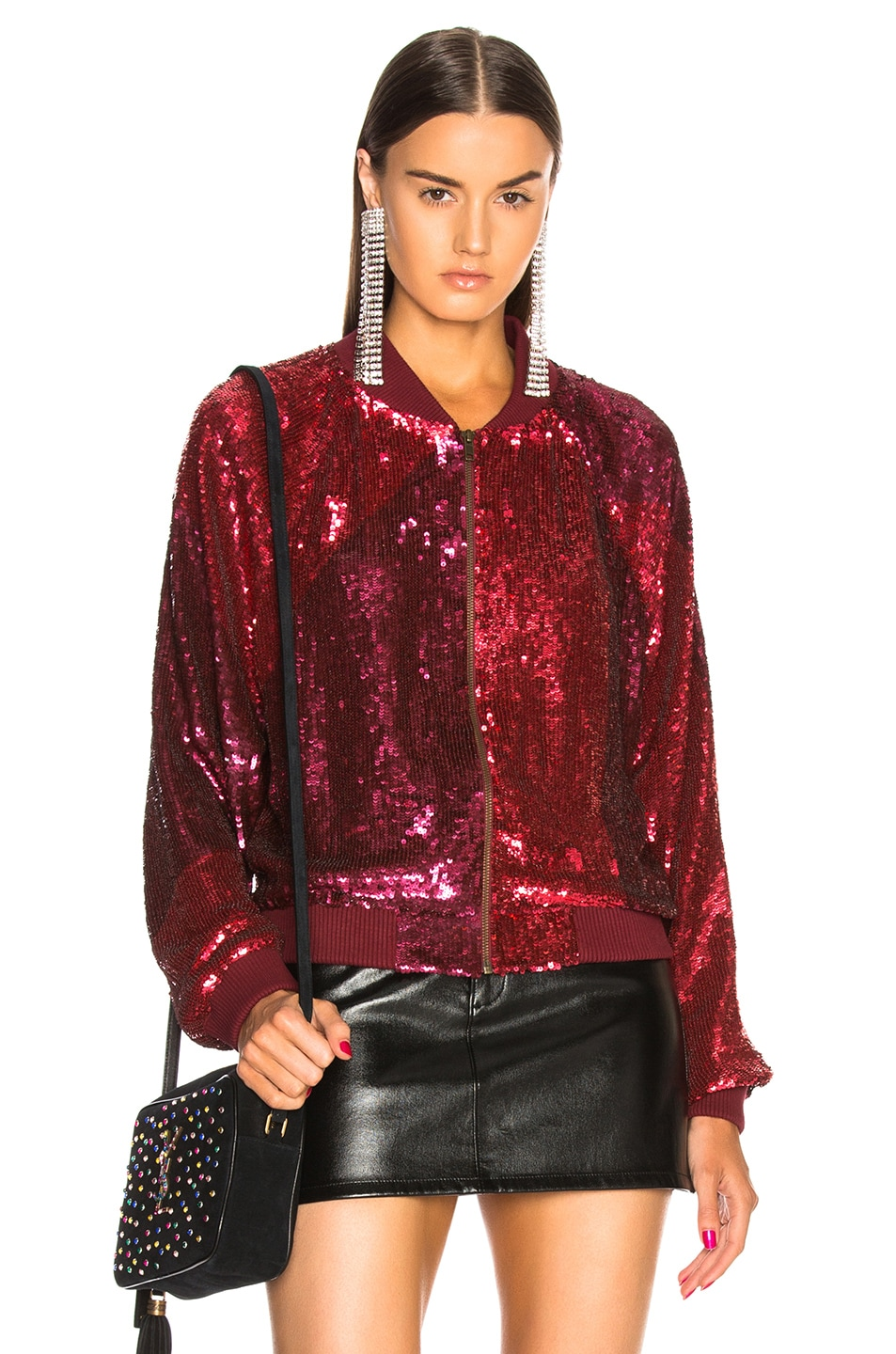 Image 1 of retrofete Carrie Bomber Jacket in Burgundy & Pink