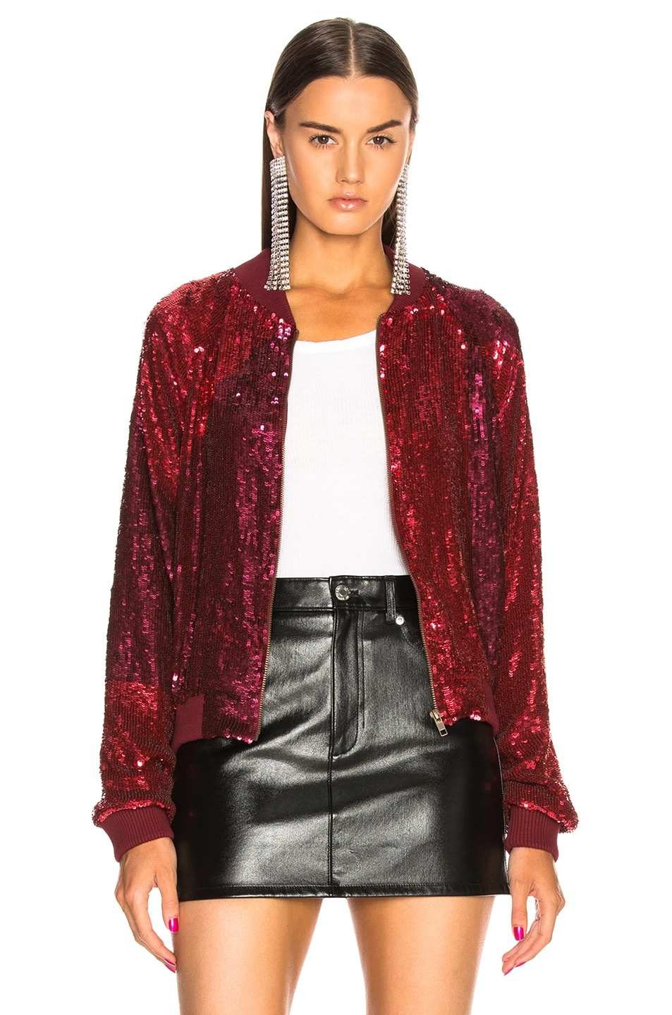 Image 2 of retrofete Carrie Bomber Jacket in Burgundy & Pink