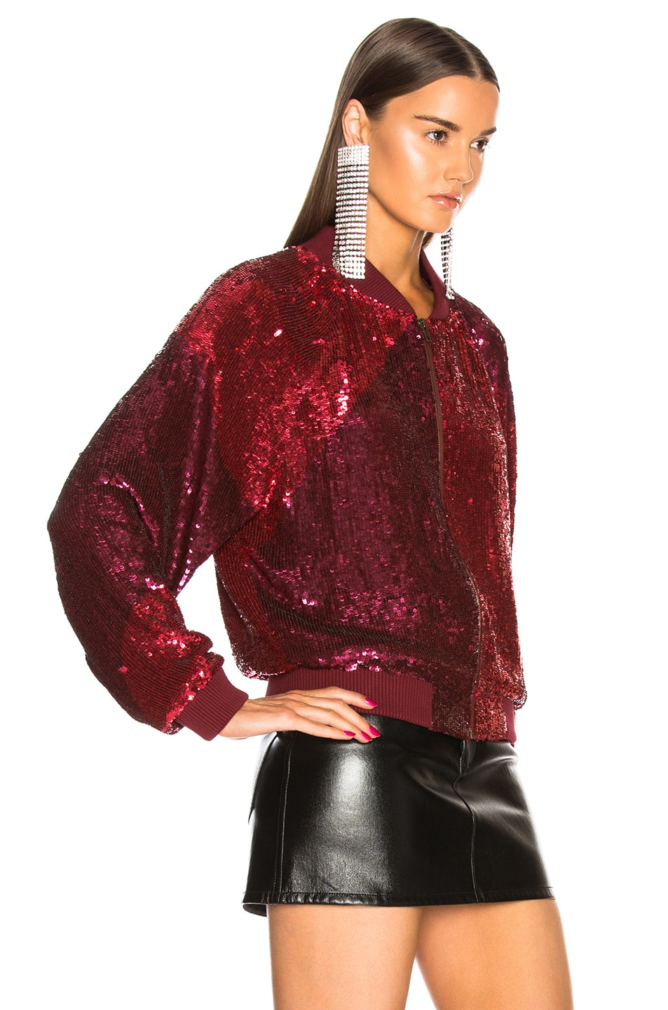 Image 3 of retrofete Carrie Bomber Jacket in Burgundy & Pink