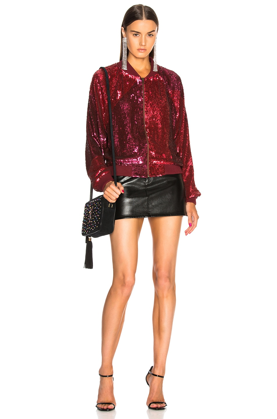 Image 5 of retrofete Carrie Bomber Jacket in Burgundy & Pink