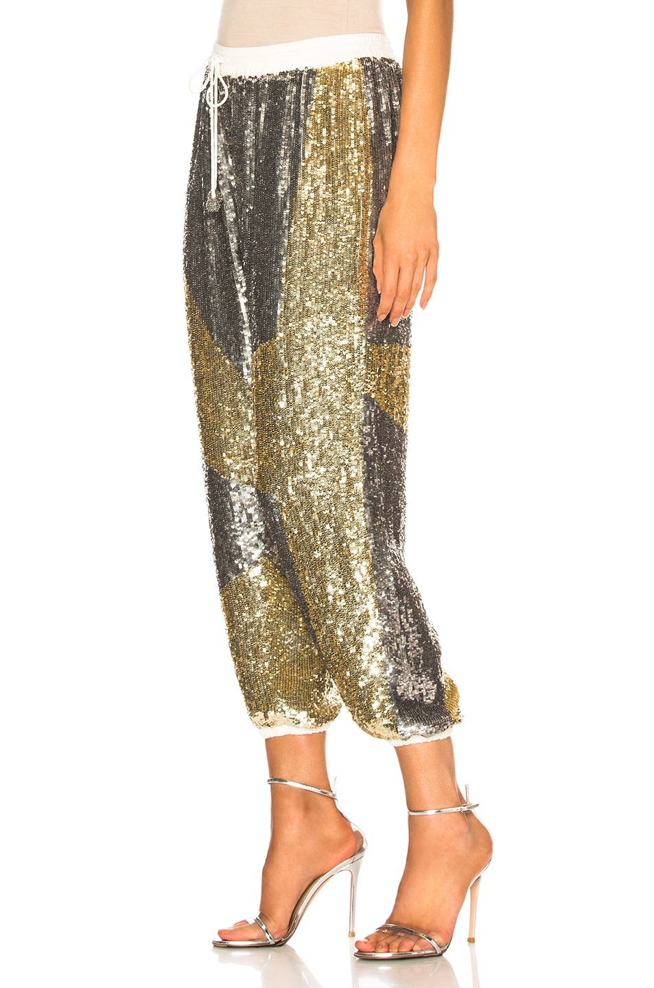 Image 3 of retrofete Stacia Pant in Silver & Gold