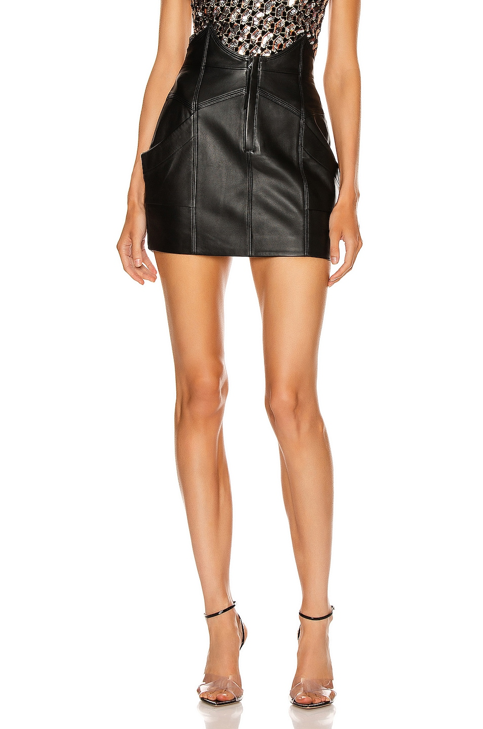 Image 1 of retrofete Fae Leather Skirt in Black