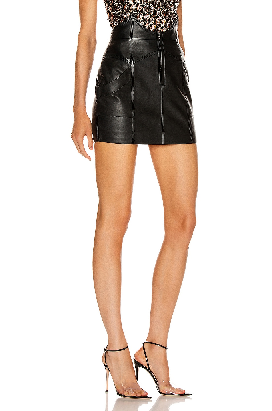 Image 2 of retrofete Fae Leather Skirt in Black