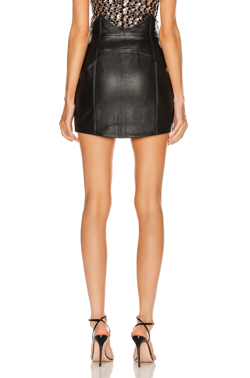 Image 3 of retrofete Fae Leather Skirt in Black