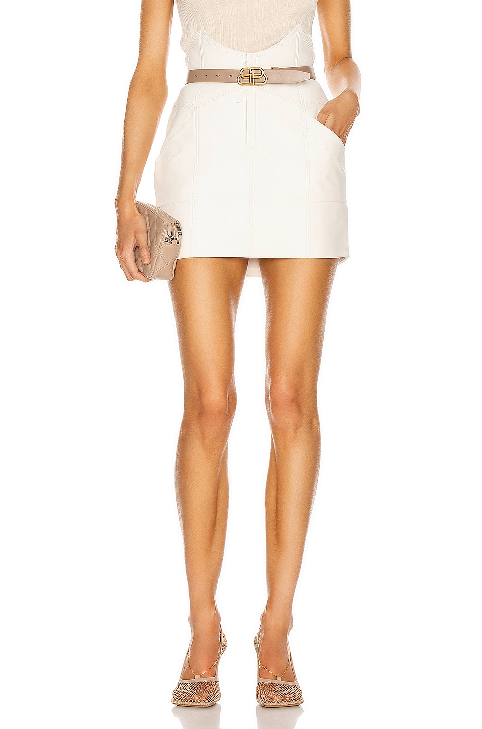 Image 1 of retrofete Fae Leather Skirt in White