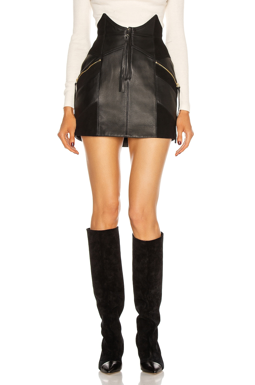 Image 1 of retrofete Fae Leather Skirt in Black