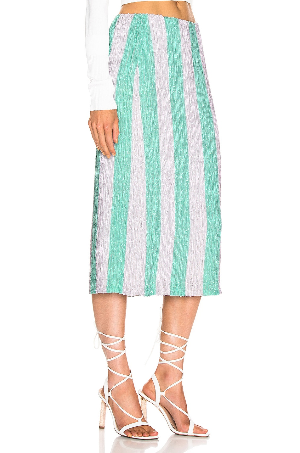 Image 2 of retrofete Veronica Skirt in Mint Stripes