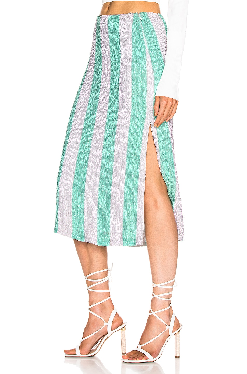 Image 3 of retrofete Veronica Skirt in Mint Stripes
