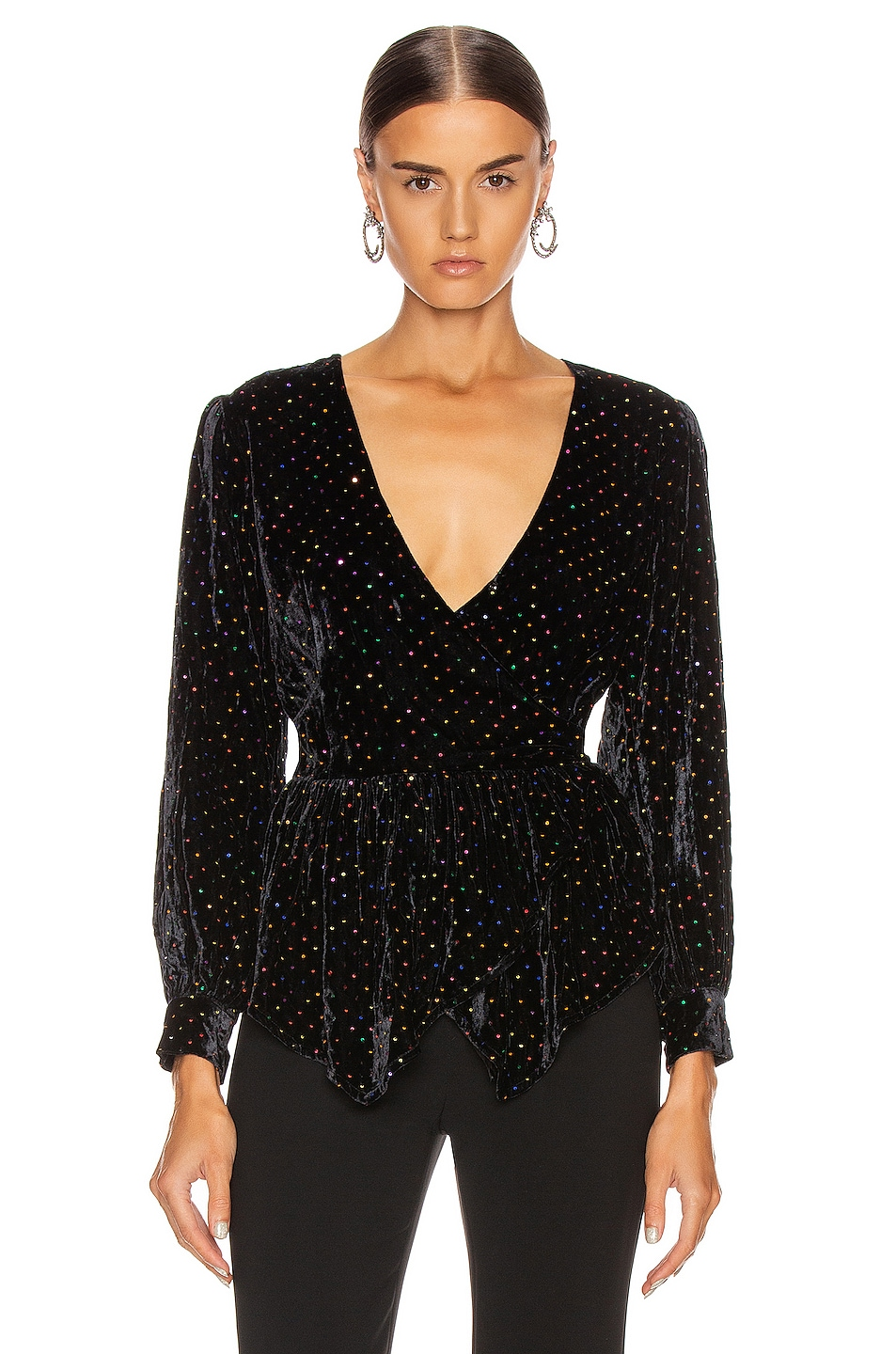 Image 1 of retrofete Sienna Top in Black Multi