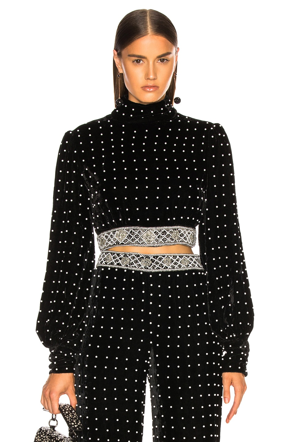 Image 1 of retrofete Kimberly Top in Black & Pearl