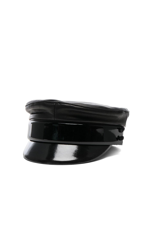 Image 2 of Ruslan Baginskiy Leather Baker Boy Cap in Black