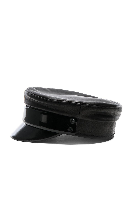 Image 3 of Ruslan Baginskiy Leather Baker Boy Cap in Black