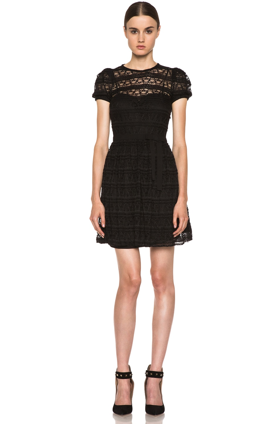 Image 1 of Red Valentino Lace Knit Dress in Black