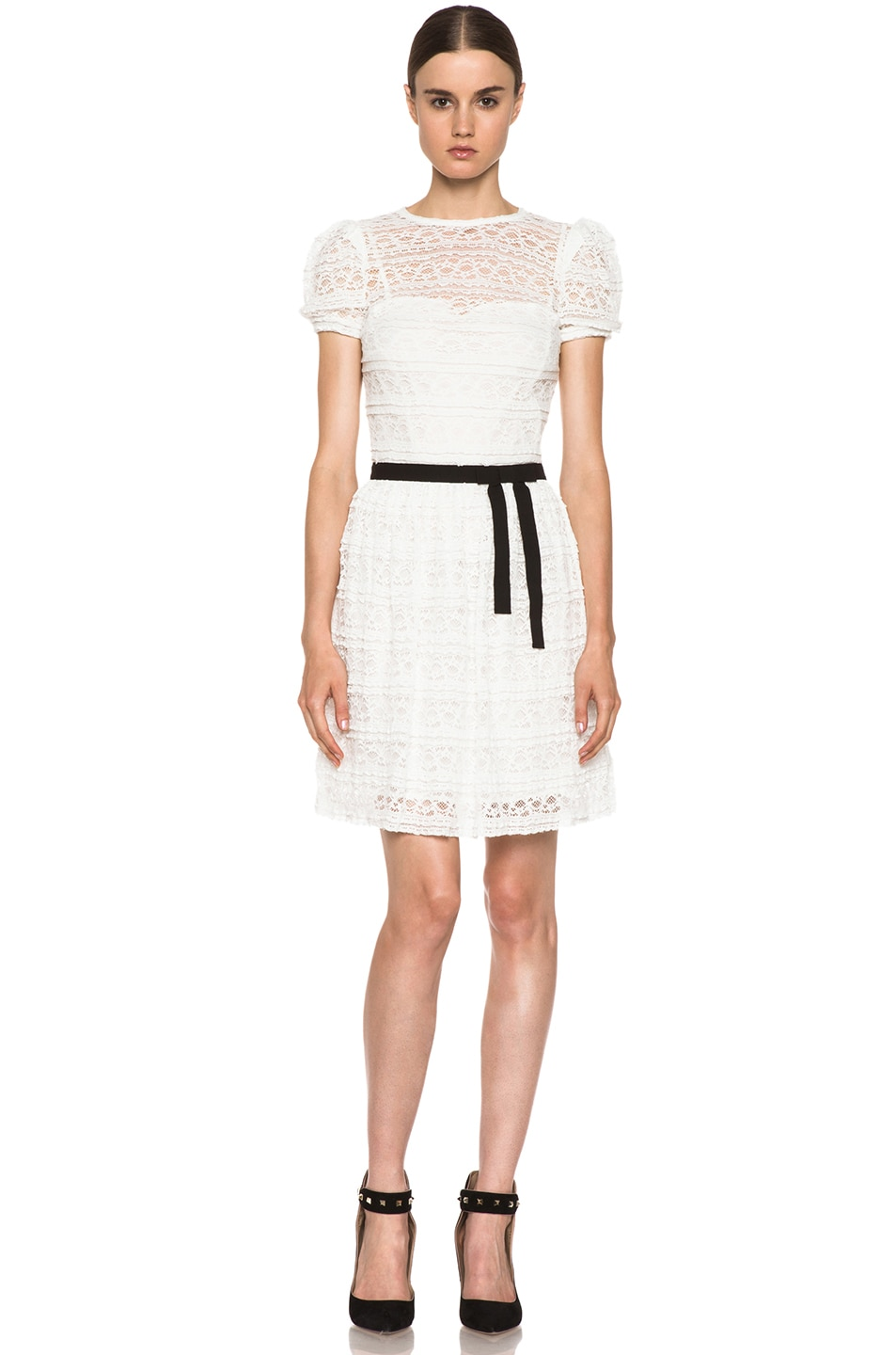 Image 1 of Red Valentino Lace Knit Dress in White & Black
