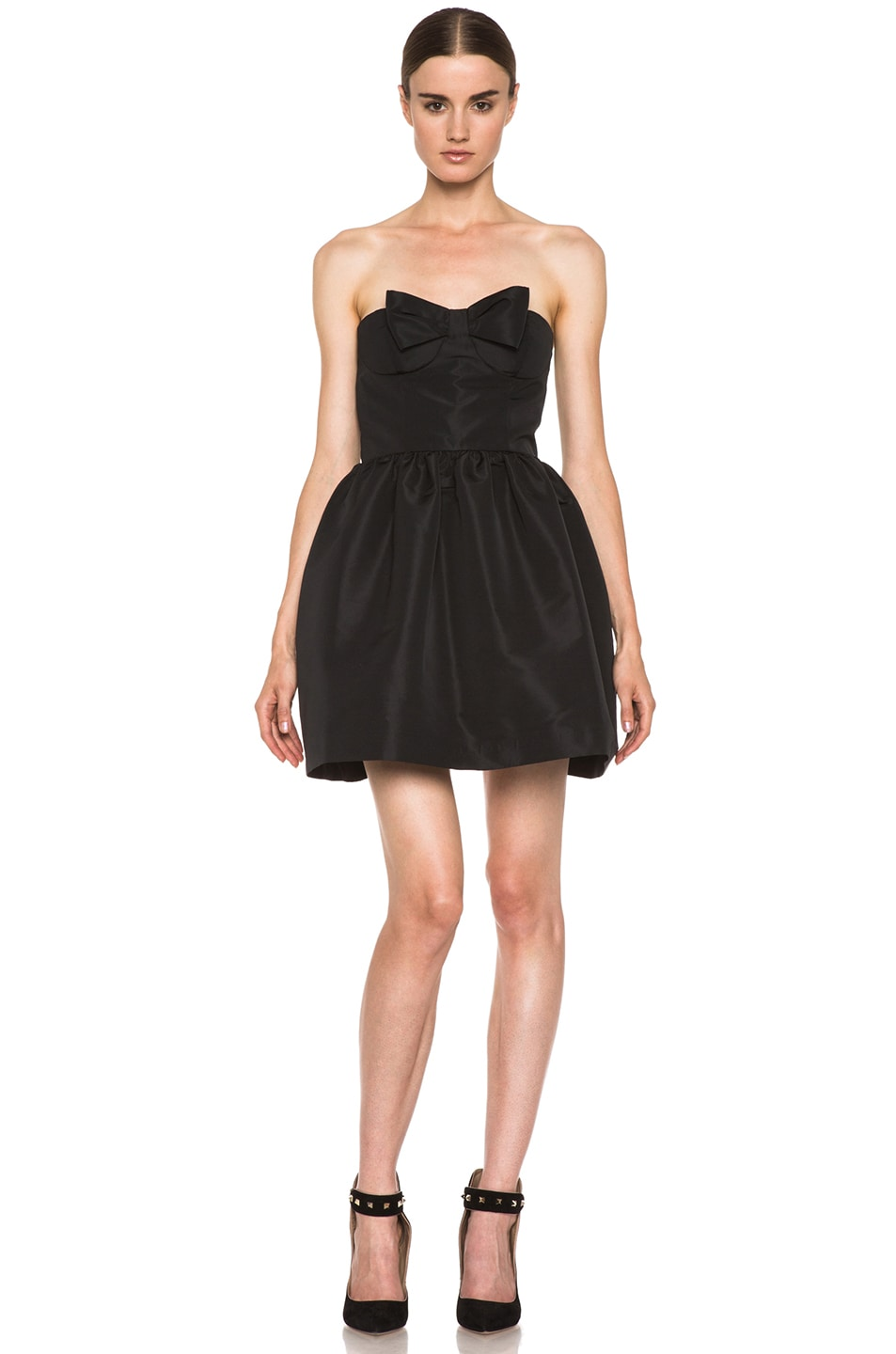 Image 1 of Red Valentino Faille Poly Dress in Black