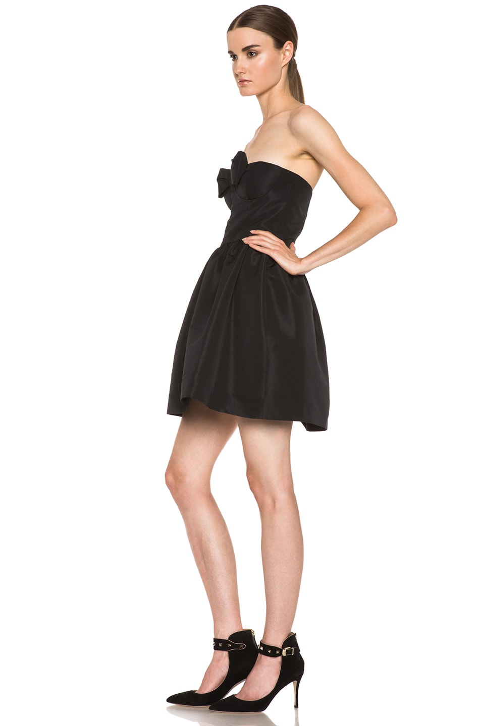 Image 2 of Red Valentino Faille Poly Dress in Black