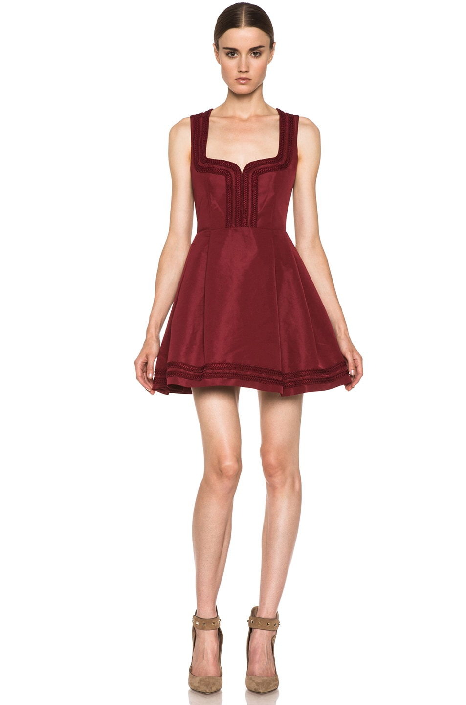 Image 1 of Red Valentino Faille Poly Sweetheart Dress in Wine