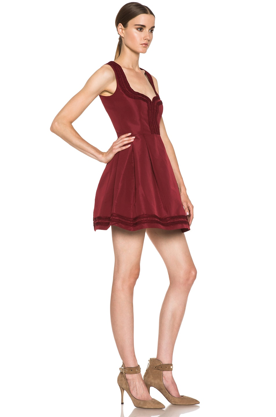 Image 3 of Red Valentino Faille Poly Sweetheart Dress in Wine