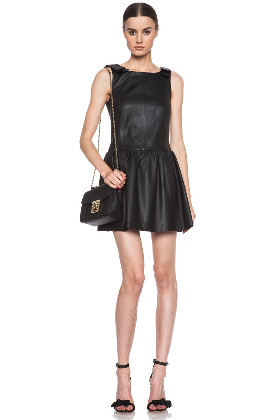 Image 1 of Red Valentino Nappa Leather Tank Dress in Black