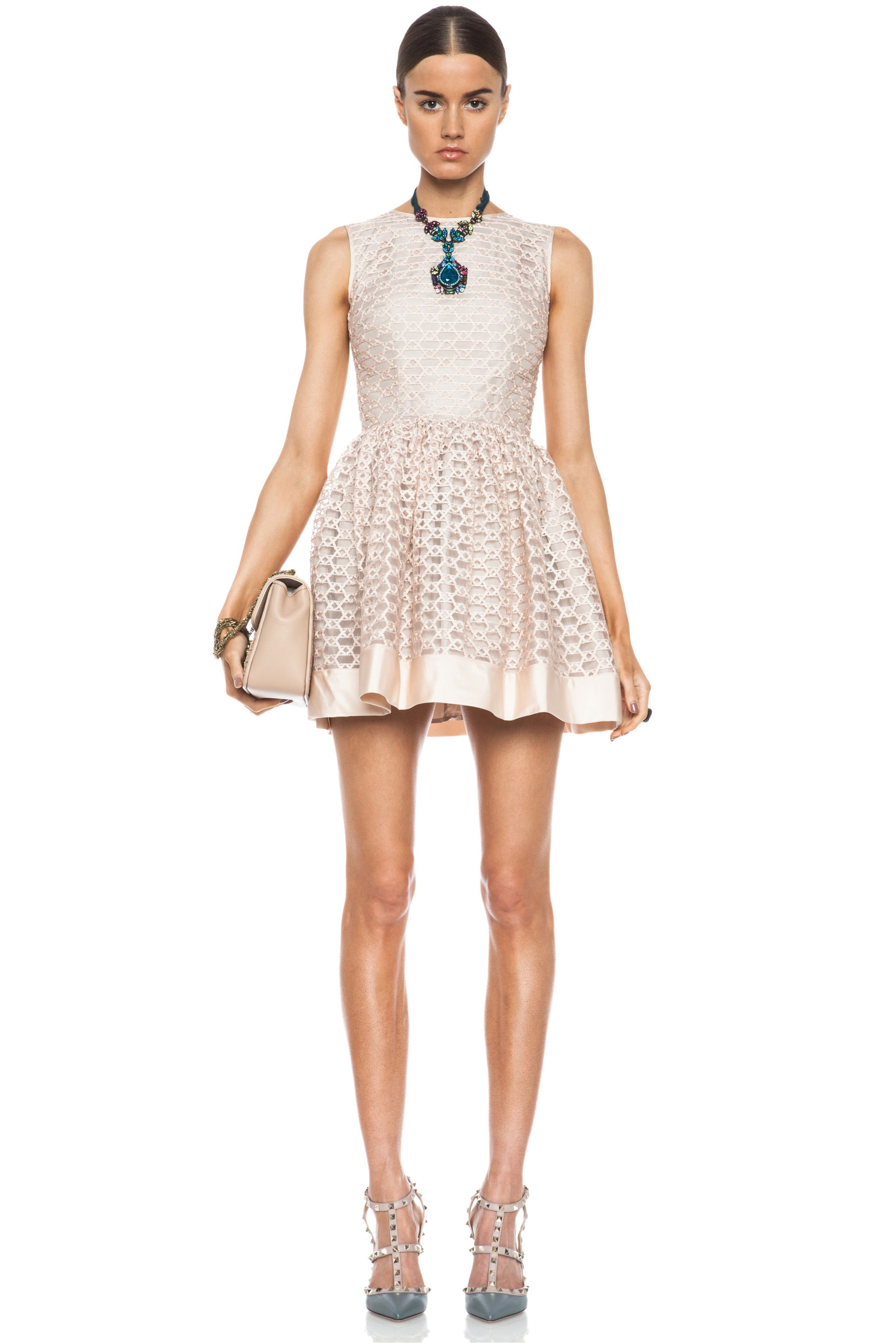 Image 1 of Red Valentino Ribbon Embroidered Poly Dress in Opaline