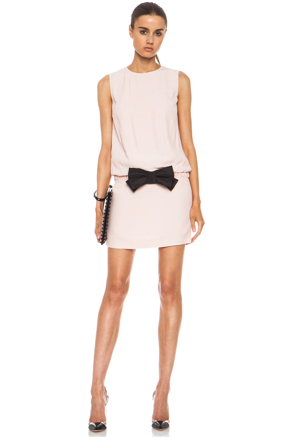 Image 1 of Red Valentino Drop Waist Viscose Dress in Opaline & Black