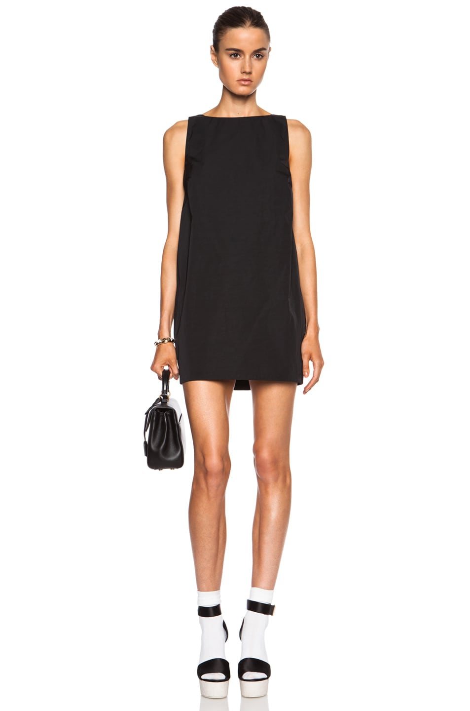 Image 1 Of Red Valentino Bow Poly Shift Dress In Black