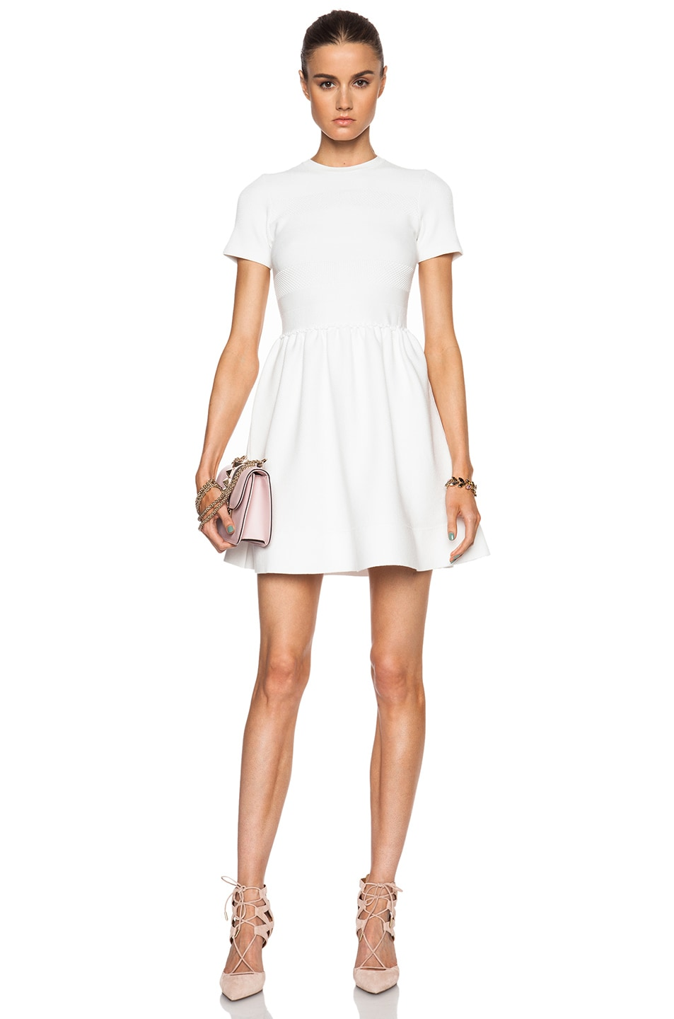Image 1 of Red Valentino Viscose Yarn Dress in Blanco