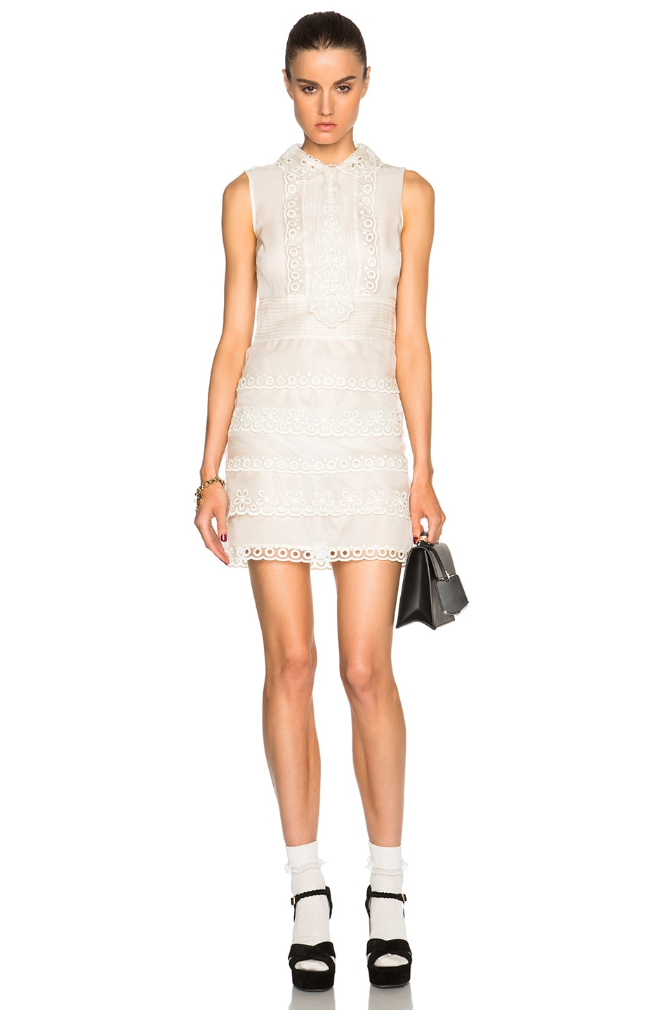 Image 1 of Red Valentino Eyelet Lace Mini Dress in Ivory