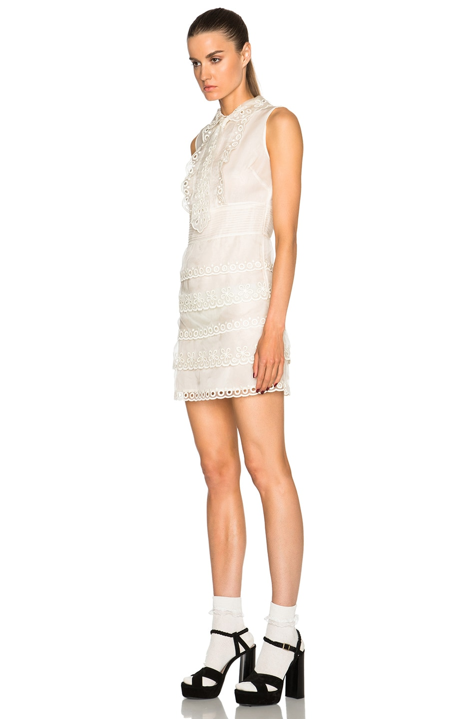 Image 2 of Red Valentino Eyelet Lace Mini Dress in Ivory