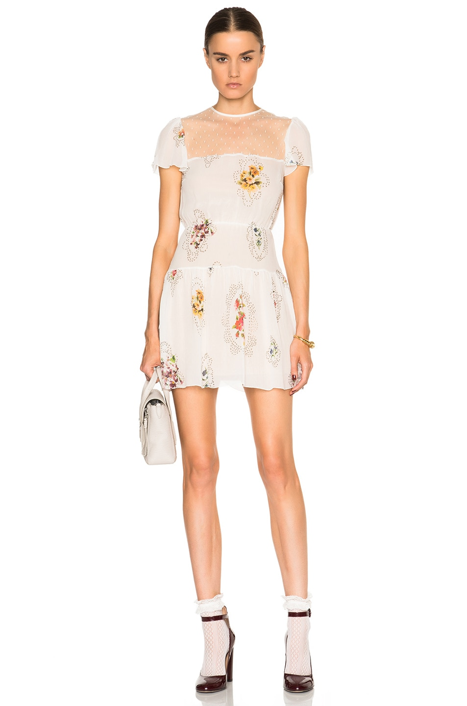 Image 1 of Red Valentino Floral Mini Dress in Latte