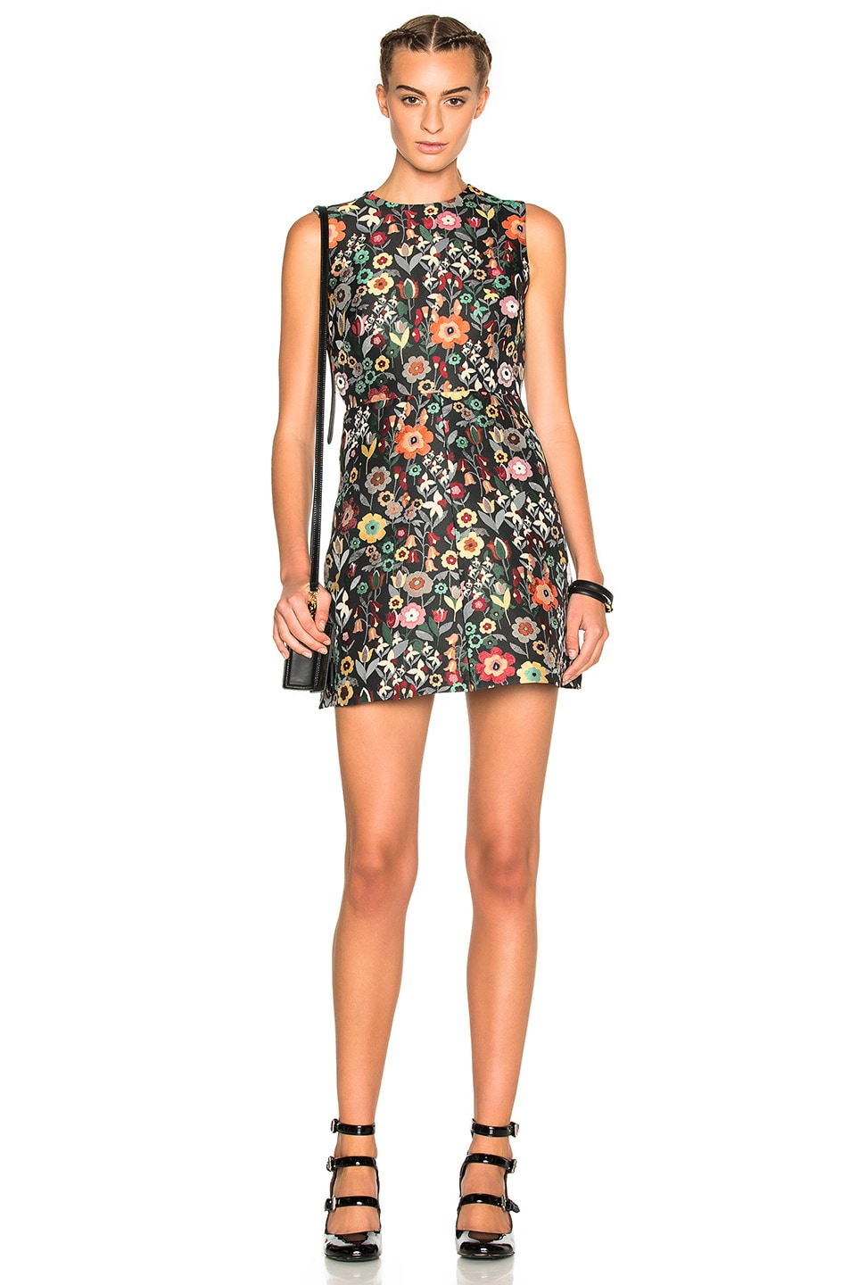 10e9b0b880 Image 1 of Red Valentino Printed Fit & Flare Mini Dress in Black