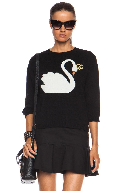 Red Valentino Cropped Wool Swan Sweater in Black & White Smoke | FWRD
