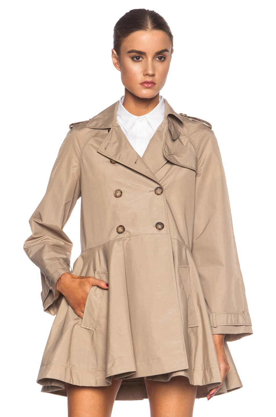 Image 1 of Red Valentino Canvas Polyamide Trench Coat in Dune