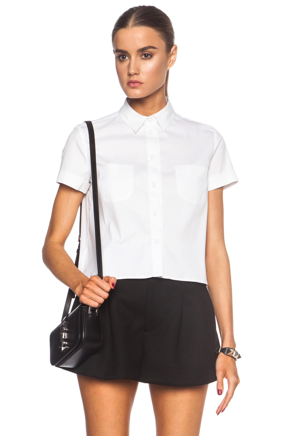 Image 1 of Red Valentino Poplin Button Up Cotton-Blend Pocket Top in White