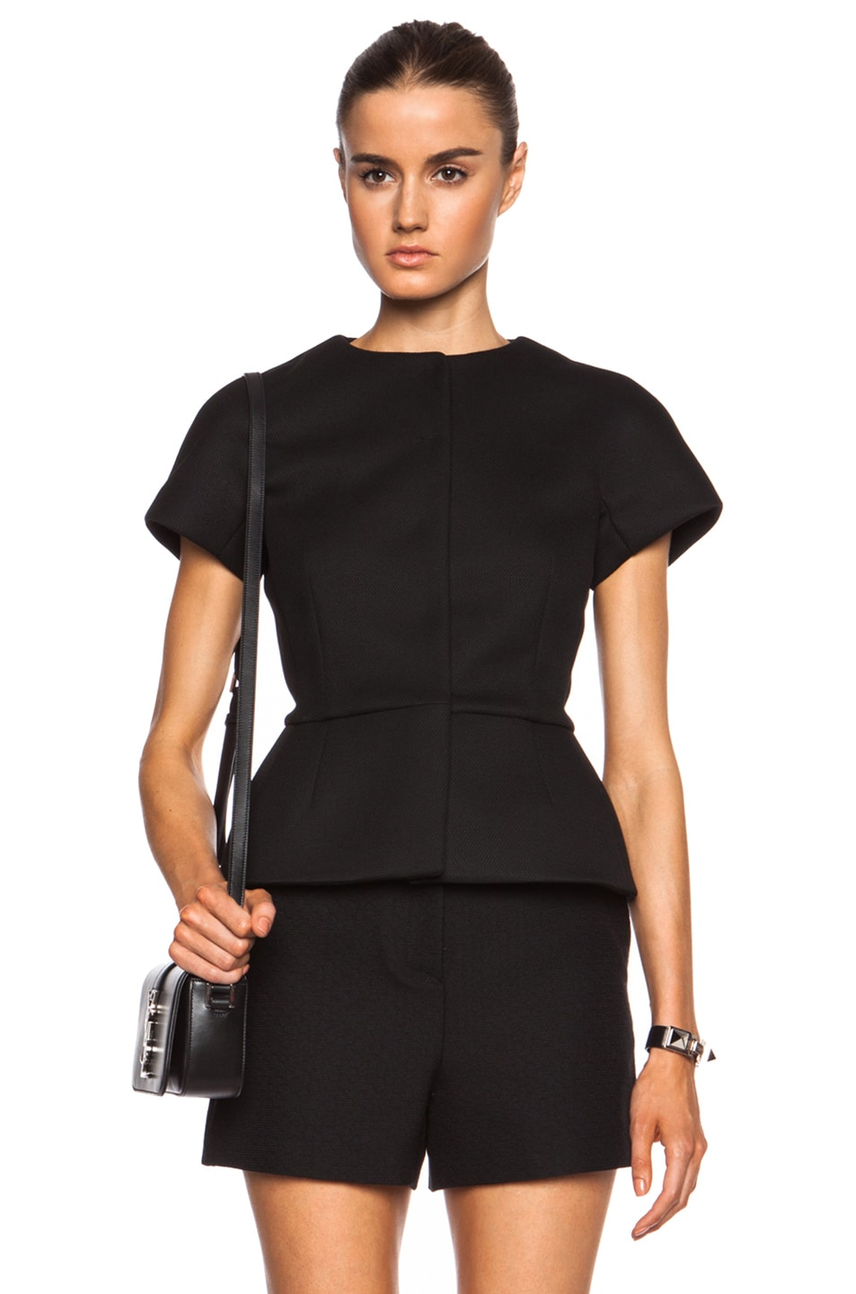 Image 1 of Red Valentino Peplum Poly-Blend Top in Black