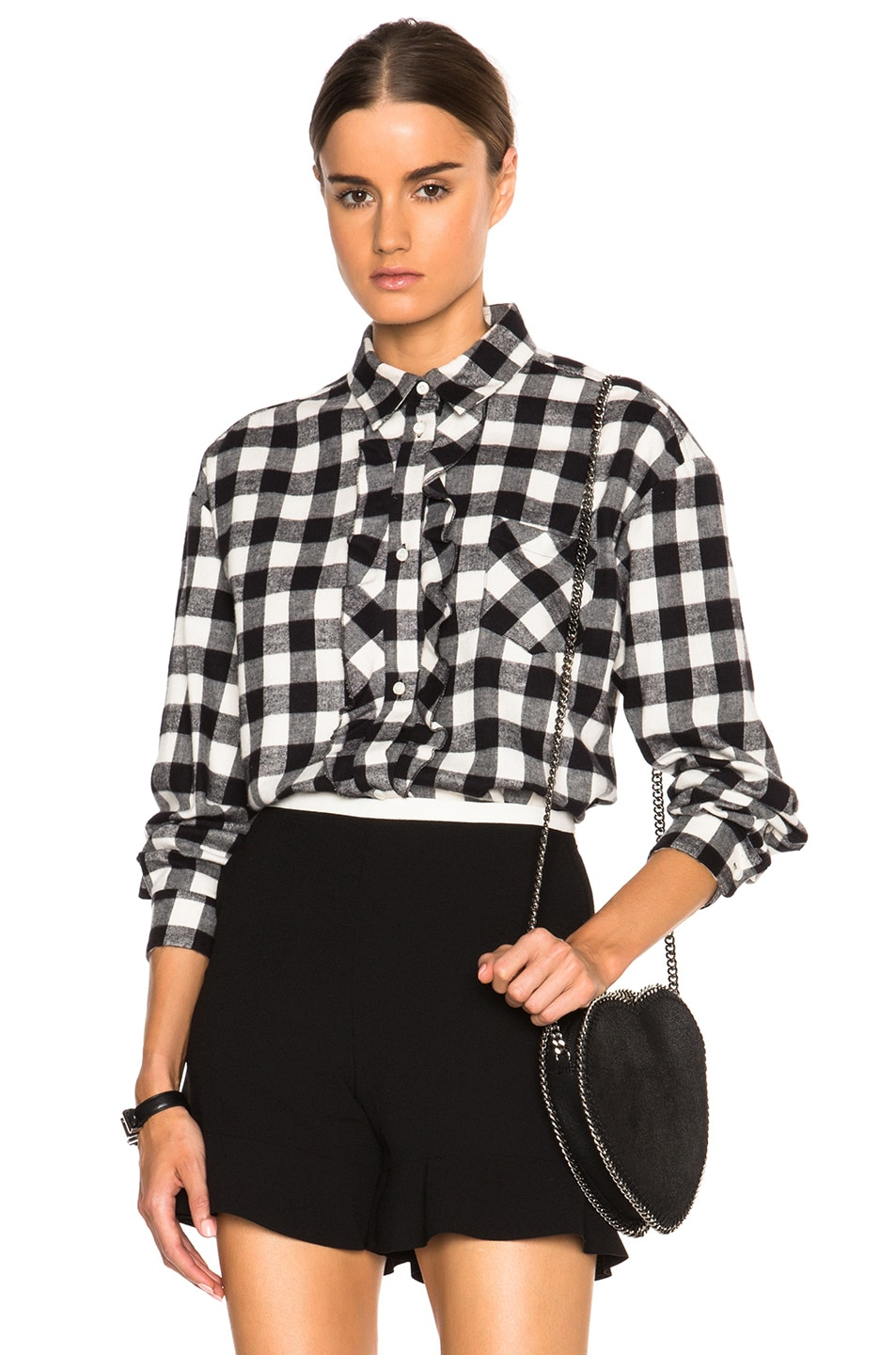 Image 1 of Red Valentino Gingham Oversized Ruffle Top in Ivory