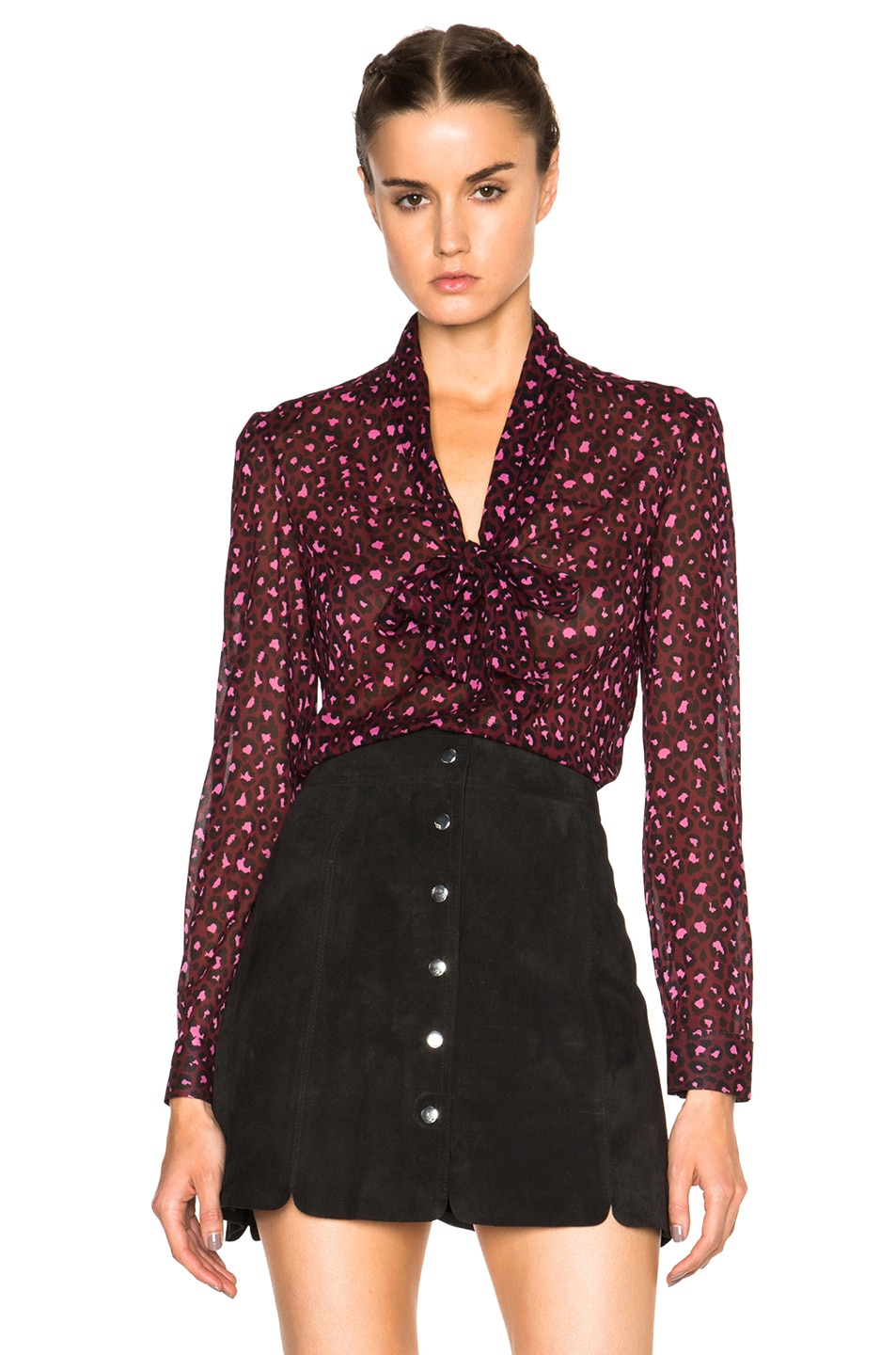 Image 1 of Red Valentino Printed Neck Tie Top in Armaranto
