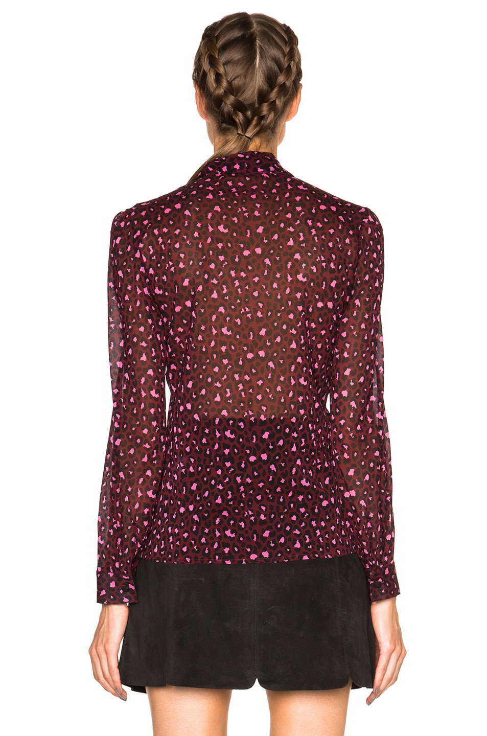 Image 4 of Red Valentino Printed Neck Tie Top in Armaranto